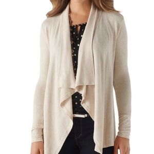 WHBM Cream/Gold Studded Cuff Open Draped Cardigan